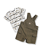 Infant Boys' Washed Canvas Bib Shortall Set