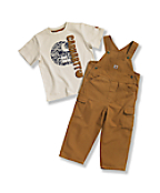 Toddler Boys' Washed Canvas Bib Overall Set