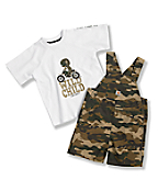 Toddler Boys' Washed Ropstop Bib Shortall Set