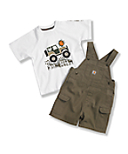 Toddler Boys' Washed Canvas Bib Shortall Set