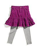 Girls Washed Pony Skirt And Tights Set