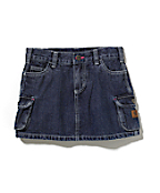 Girls Washed Denim Skirt With Bike Short
