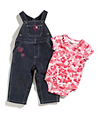 Infant Girls Washed Denim Bib Overall Set