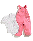 Infant Girls Washed Canvas Bib Overall Set