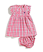 Infant Girls Woven Plaid Dress Set w/Bloomer