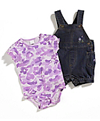 Infant Girls Washed Denim Shortall Set