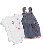 Infant Girls' Washed Chambray Jumper Set