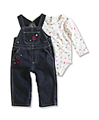 Infant/Toddler Girls Washed Bib Overall Set
