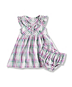 INFANT GIRL'S  WOVEN PLAID DRESS SET WITH BLOOMER