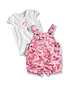 INFANT GIRL'S  WASHED PRINTED RIPSTOP SHORTALL SET