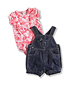 INFANT GIRL'S WASHED DENIM SHORTALL SET