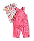 INFANT GIRL'S WASHED CANVAS OVERALL SET