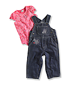 INFANT GIRL'S WASHED BIB OVERALL SET
