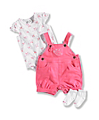 INFANT GIRL'S CARHARTT 3 PIECE SHORTALL  SET