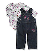 Infant Toddler Girl's Washed Denim Bib Overall Set