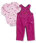 Infant Toddler Girl's Washed Canvas Bib Overall Set
