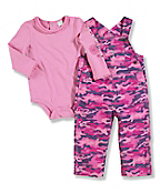 Infant/Toddler Girls' Washed Ripstop Bib Overall Set