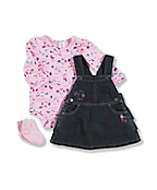 Infant Toddler Girl's Washed Denim 3-Piece Set