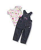 Newborn Infant Girls' Washed Denim Bib Overall Set