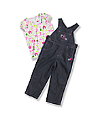 Toddler Washed Girls' Denim Bib Overall Set