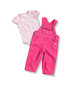 Newborn Infant Girls' Washed Canvas Bib Overall Set