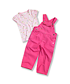 Toddler Girls' Washed Canvas Bib Overall Set