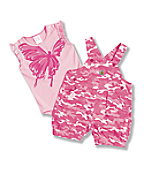 Newborn Infant Girls' Washed Ripstop Shortall Set