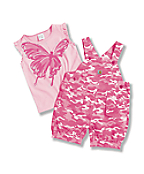 Toddler Girls' Washed Ripstop Shortall Set