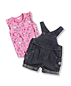 Newborn Infant Girls' Washed Denim Shortall Set