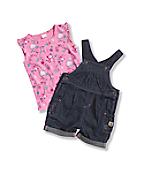 Toddler Girls' Washed Denim Shortall Set