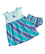 Infant Toddler Girls' Washed Knit Woven Plaid Jumper Set