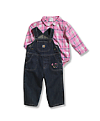 Infant/Toddler Girls' Washed Denim Bib Overall Set