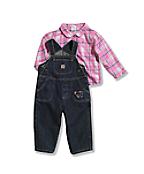 Infant/Toddler Girls' Washed Denim Bib Overall Set