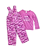 Infant/Toddler Girls' Washed Camo Ripstop Bib Overall Set