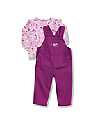 Infant/Toddler Girls' Canvas Bib Overall Set