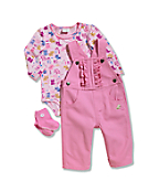 Infant/Toddler Girls' Brushed Fleece 3 Piece Bib Overall Set