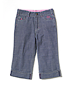Girls Washed Chambray Capri