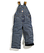 Boys Washed Denim Lined Bib Overall - Sizes 8-16