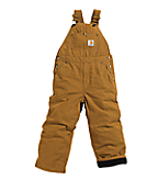Boys Washed Duck Lined Bib Overall - Sizes 4-7