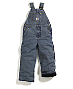 Boys Washed Denim Lined Bib Overall - Sizes 4-7