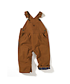 Infant Boy's Washed-Duck Bib Overall � Flannel Lined