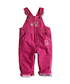 Infant/Toddler Girl�s Washed Flannel-Lined Canvas Bib Overall