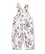 INFANT GIRL'S WASHED PRINTED TWILL BIB OVERALL