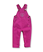 Infant Toddler Girl's Washed Microsanded Canvas Overalls