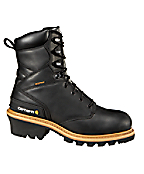 Men's 8-Inch Black Waterproof Logger Boot/Non-Safety Toe