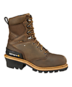 Men's 8-Inch Crazy Horse Brown Waterproof Insulated Logger Boot/Non-Safety Toe