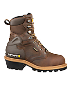 Men's 8-Inch Insulated Brown Logger Boot/Safety Toe