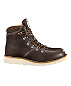 Men's Plain Toe Dark Brown 6-Inch Waterproof Wedge Boot-Non-Safety Toe