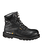 Men's 6-Inch Black Leather Waterproof Work Boot/Safety Toe