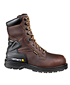 Men's 8-Inch Insulated Pebbled Brown Work Boot/Safety Toe